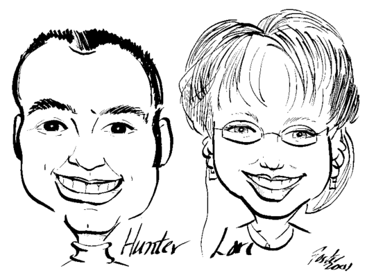 Caricature of Hunter and Lori